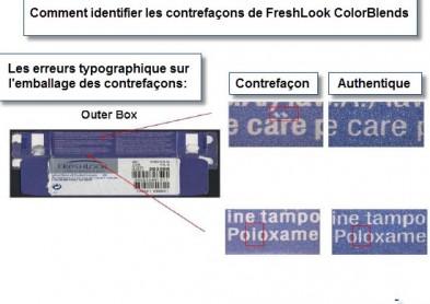 Lentilles de couleur FreshLook et ColorBlends:  Gare aux contrefaçons !